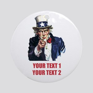 [Your text] Uncle Sam 2 Ornament (Round)
